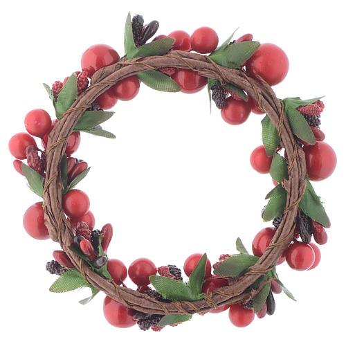 Girocandela natalizio rosso con bacche rosse candele 8 cm 2
