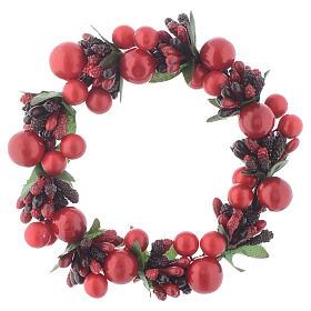 Enfeites de Natal para a Casa: Coroa de vela Natal com bagas vermelhas para velas 8 cm