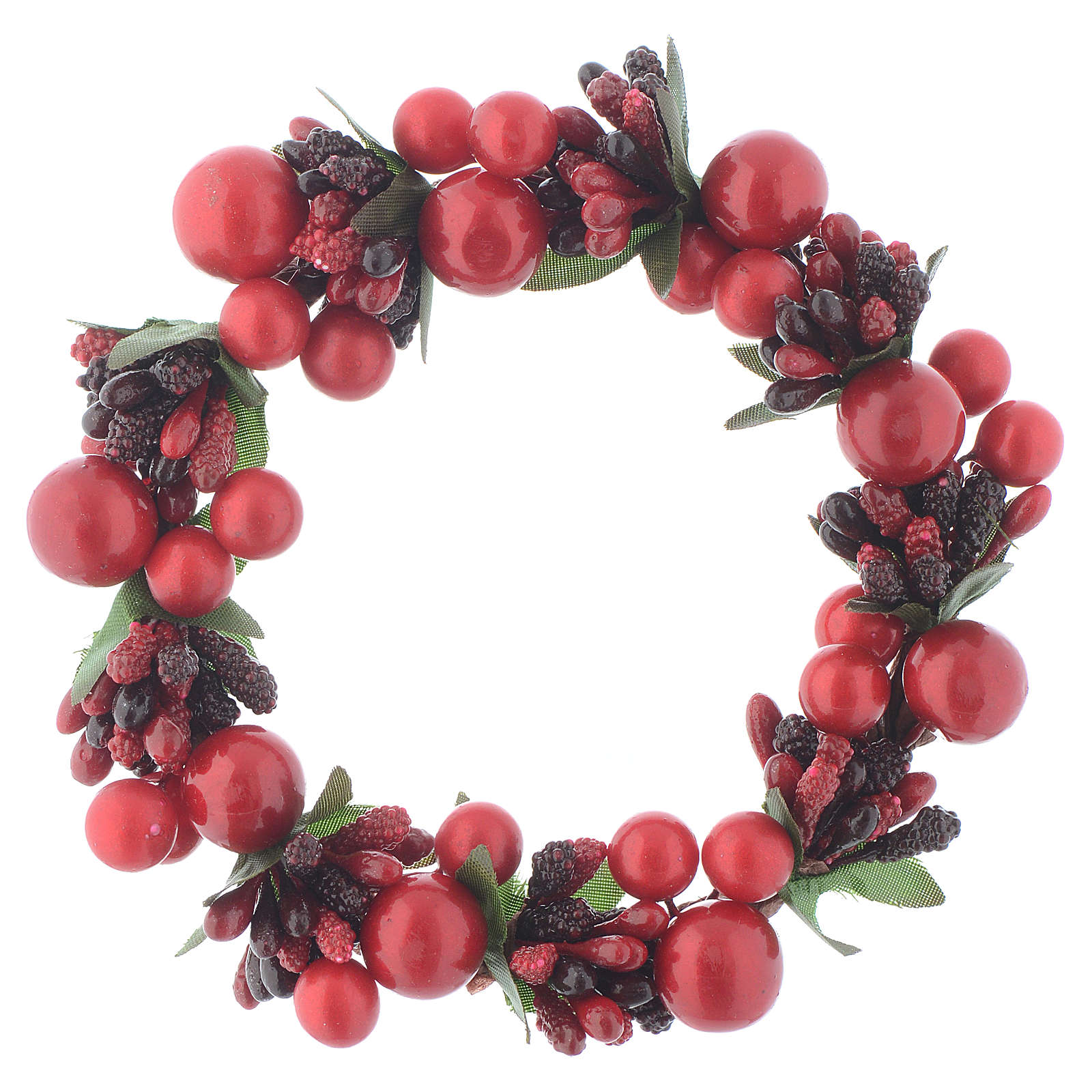 Christmas candle embellishment with red berries 8cm 3