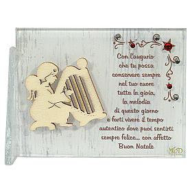 Enfeites de Natal para a Casa: Quadrinho anjo com harpa frase ITA 8,5x10 cm