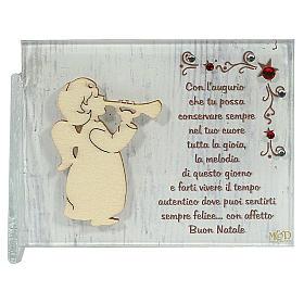 Enfeites de Natal para a Casa: Quadrinho anjo com trombeta parabéns ITA 8,5x10 cm