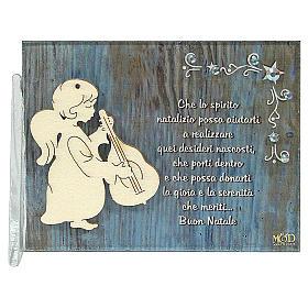 Enfeites de Natal para a Casa: Quadrinho anjo com guitarra frase ITA 8,5x10 cm