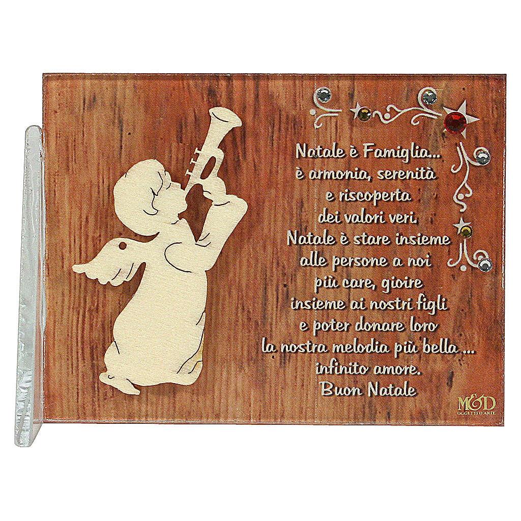 Cadre ange qui joeu de la musique phrase en ITA 8,5x10 cm 3