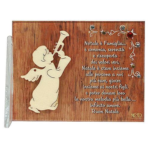Cadre ange qui joeu de la musique phrase en ITA 8,5x10 cm 1