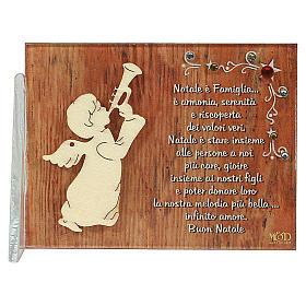 Enfeites de Natal para a Casa: Quadrinho anjo que toca frase ITA 8,5x10 cm