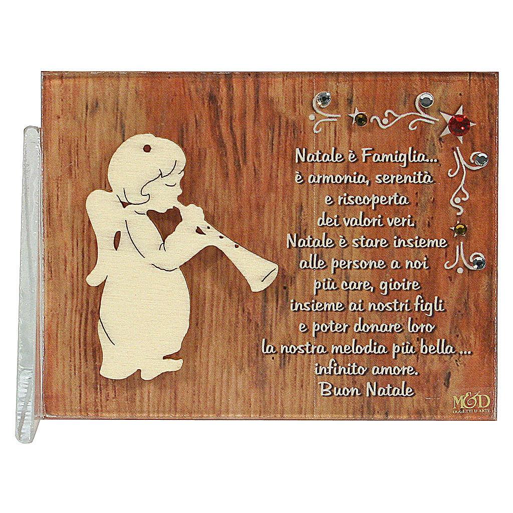 Quadretto angelo flauto augurio 8,5x10 cm 3