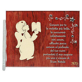 Enfeites de Natal para a Casa: Quadrinho anjo livro frase ITA 8,5x10 cm