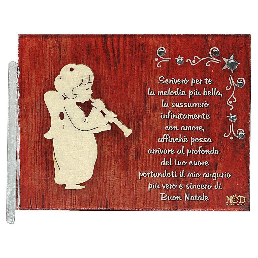 Quadretto angelo frase 8,5x10 cm clarinetto 3