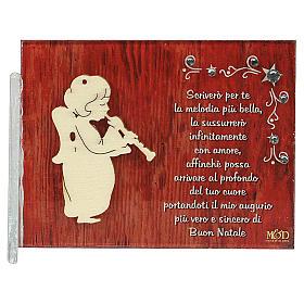 Enfeites de Natal para a Casa: Quadrinho anjo frase ITA 8,5x10 cm