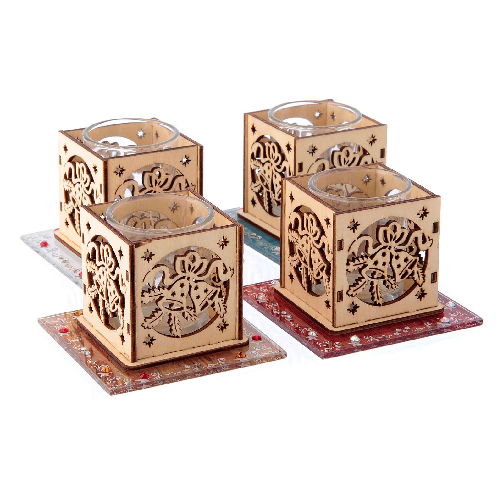 Portacandela vetro e legno campane 4 pezzi 3