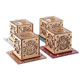 Portacandela vetro e legno campane 4 pezzi s2