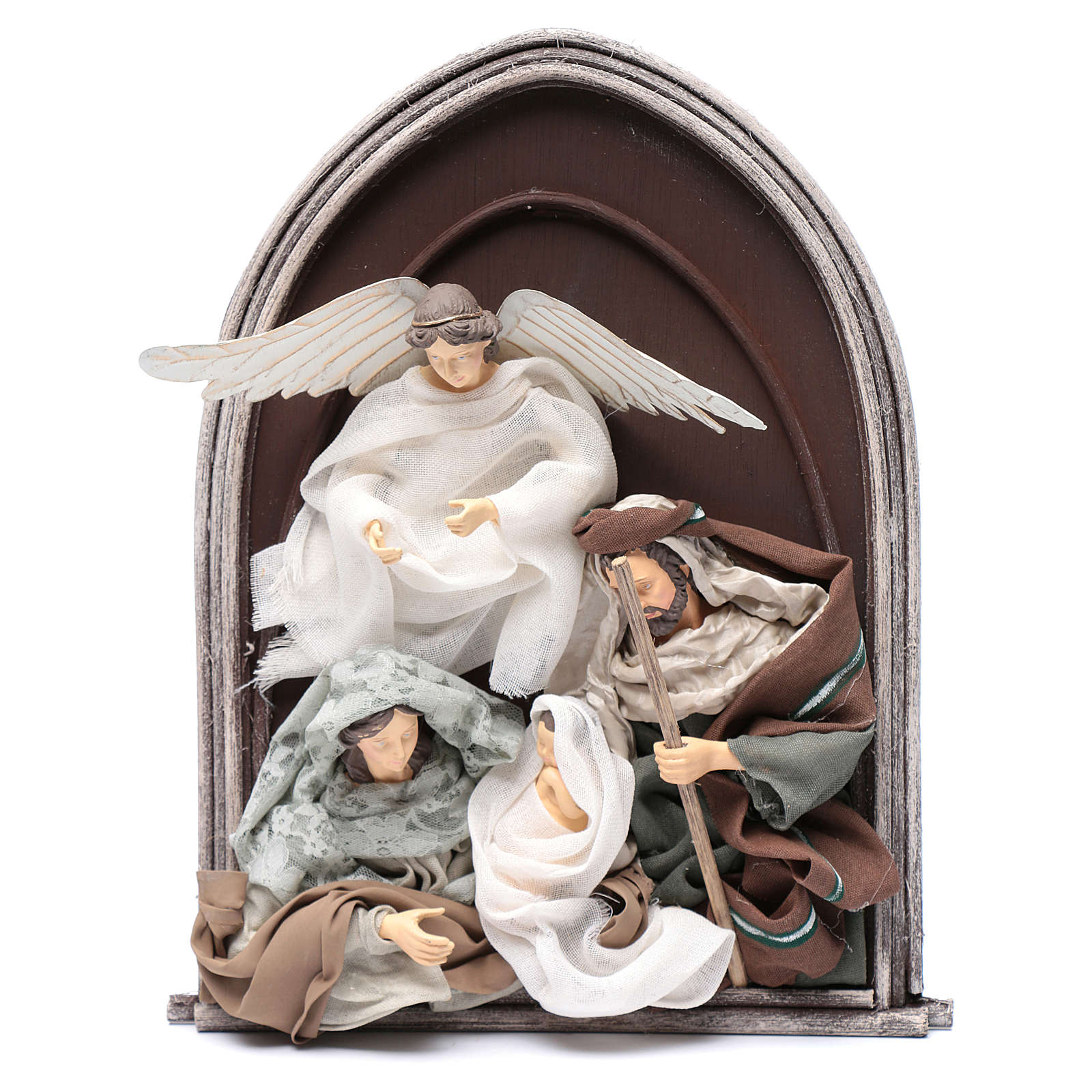 Scena natività e angelo resina in rilievo in quadro 40 cm 3