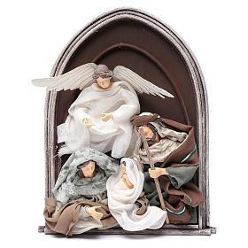 Scena natività e angelo resina in rilievo in quadro 40 cm s1