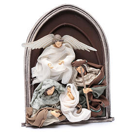 Scena natività e angelo resina in rilievo in quadro 40 cm s3