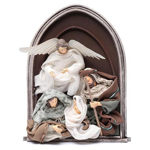 Scena natività e angelo resina in rilievo in quadro 40 cm 1