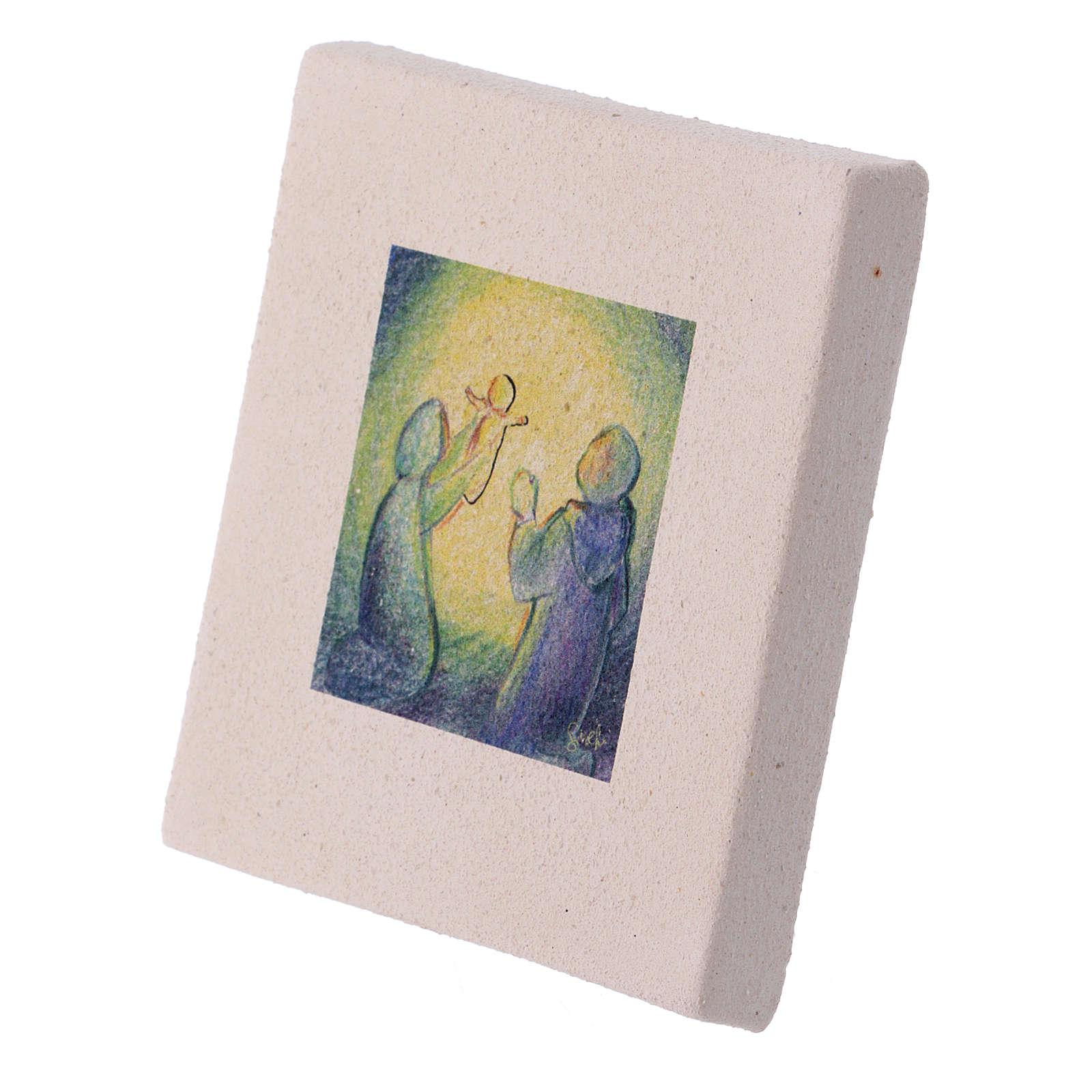Cuadro Navideño Natividad de arcilla 10x10 cm 3