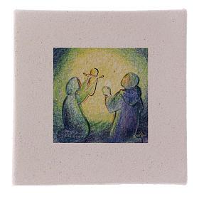 Cuadro Navideño Natividad de arcilla 10x10 cm s1