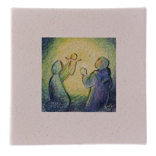 Cuadro Navideño Natividad de arcilla 10x10 cm 1