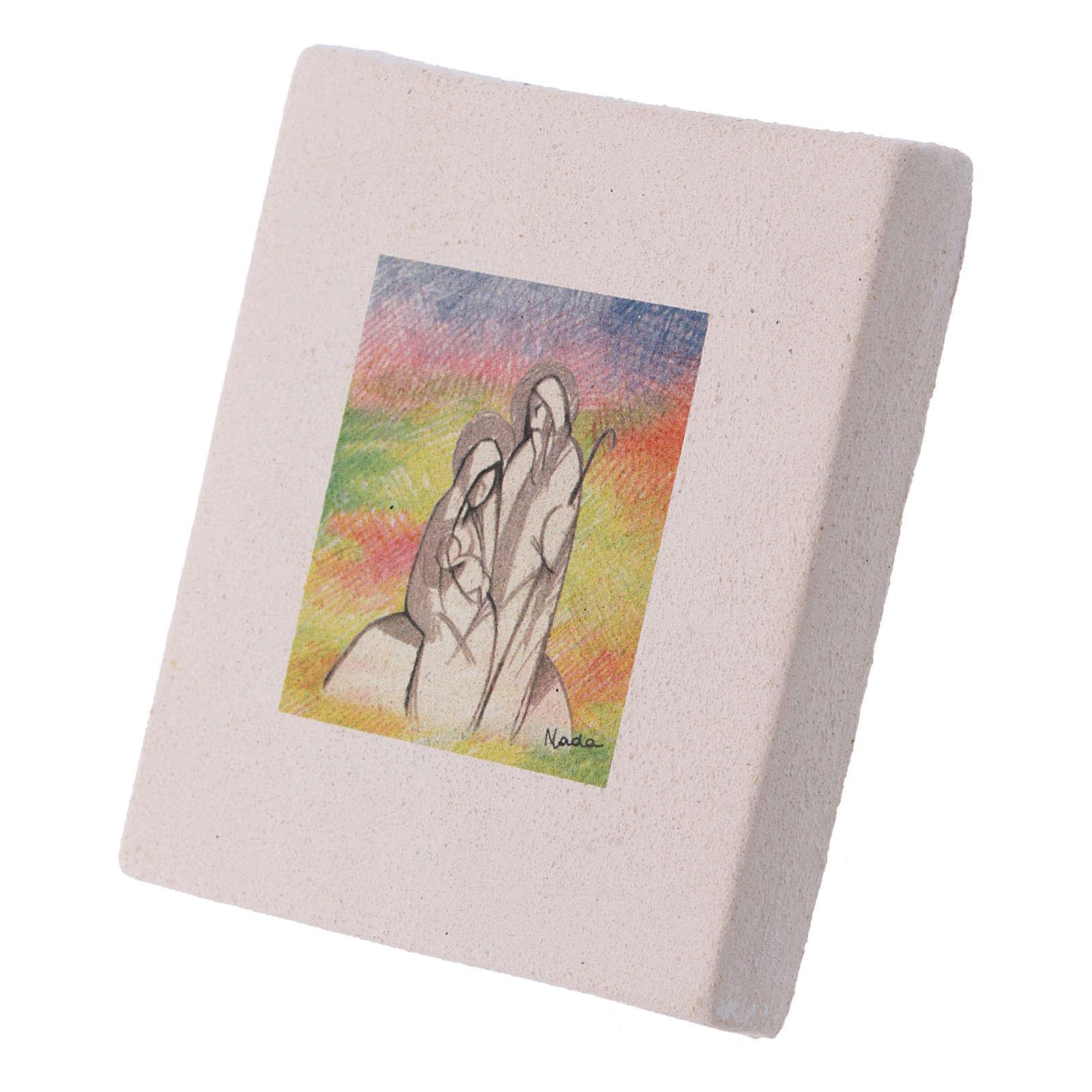 Cuadro de Navidad de arcilla Natividad detallada 10x10 cm 3