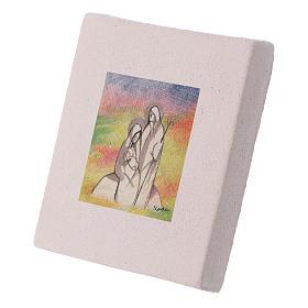 Cuadro de Navidad de arcilla Natividad detallada 10x10 cm s2