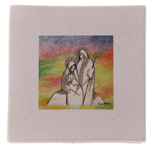 Cuadro de Navidad de arcilla Natividad detallada 10x10 cm 1