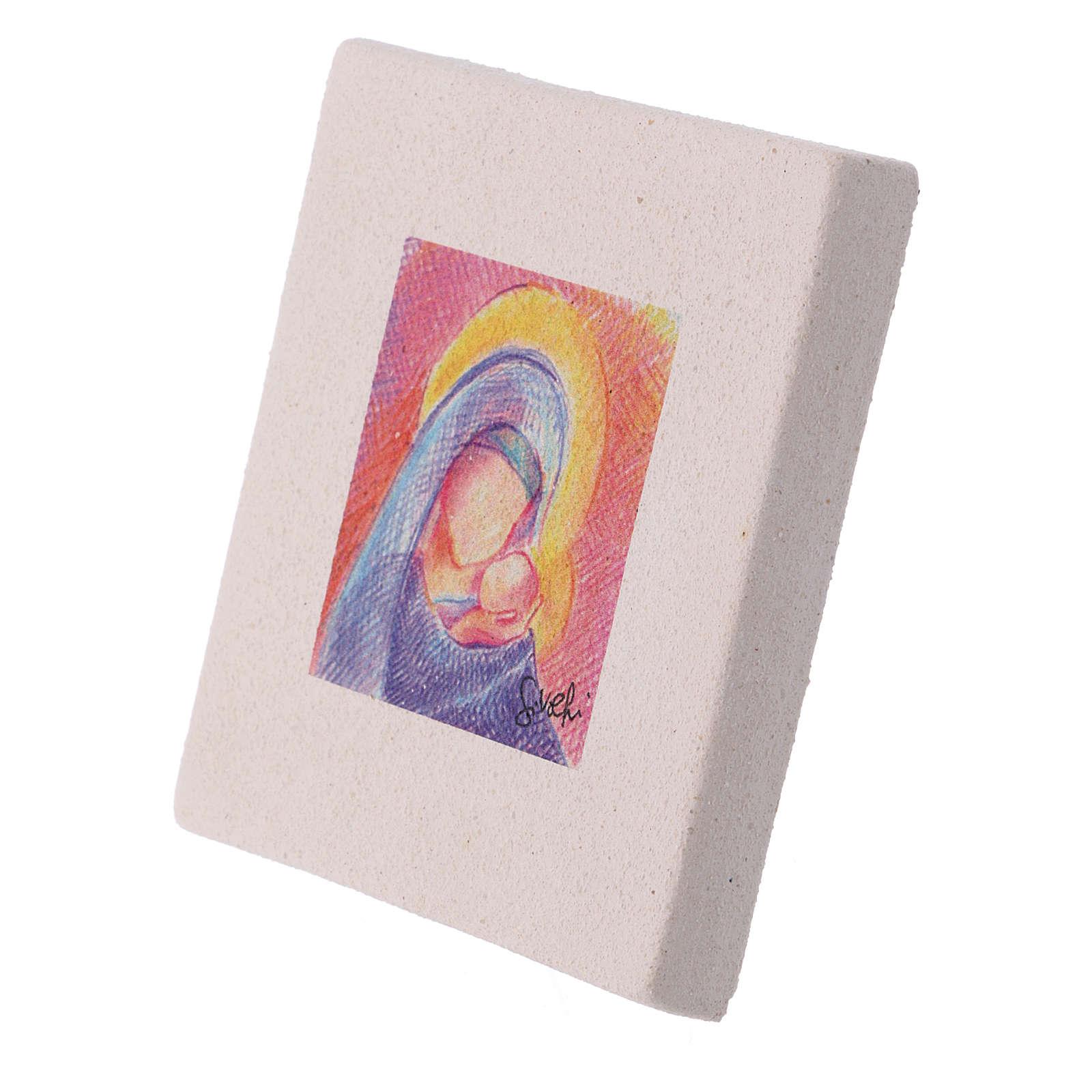 Miniatura Natalizia Maria con Gesù in creta 10X10 cm 3
