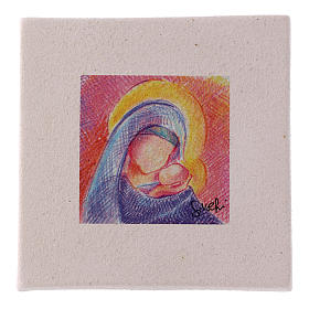 Christmas miniature Mary with Jesus in clay 10X10 cm s1