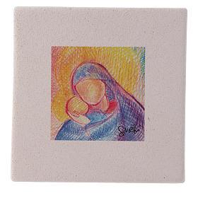 Cuadro de Navidad de arcilla abrazo María y Jesús 10x10 cm s1