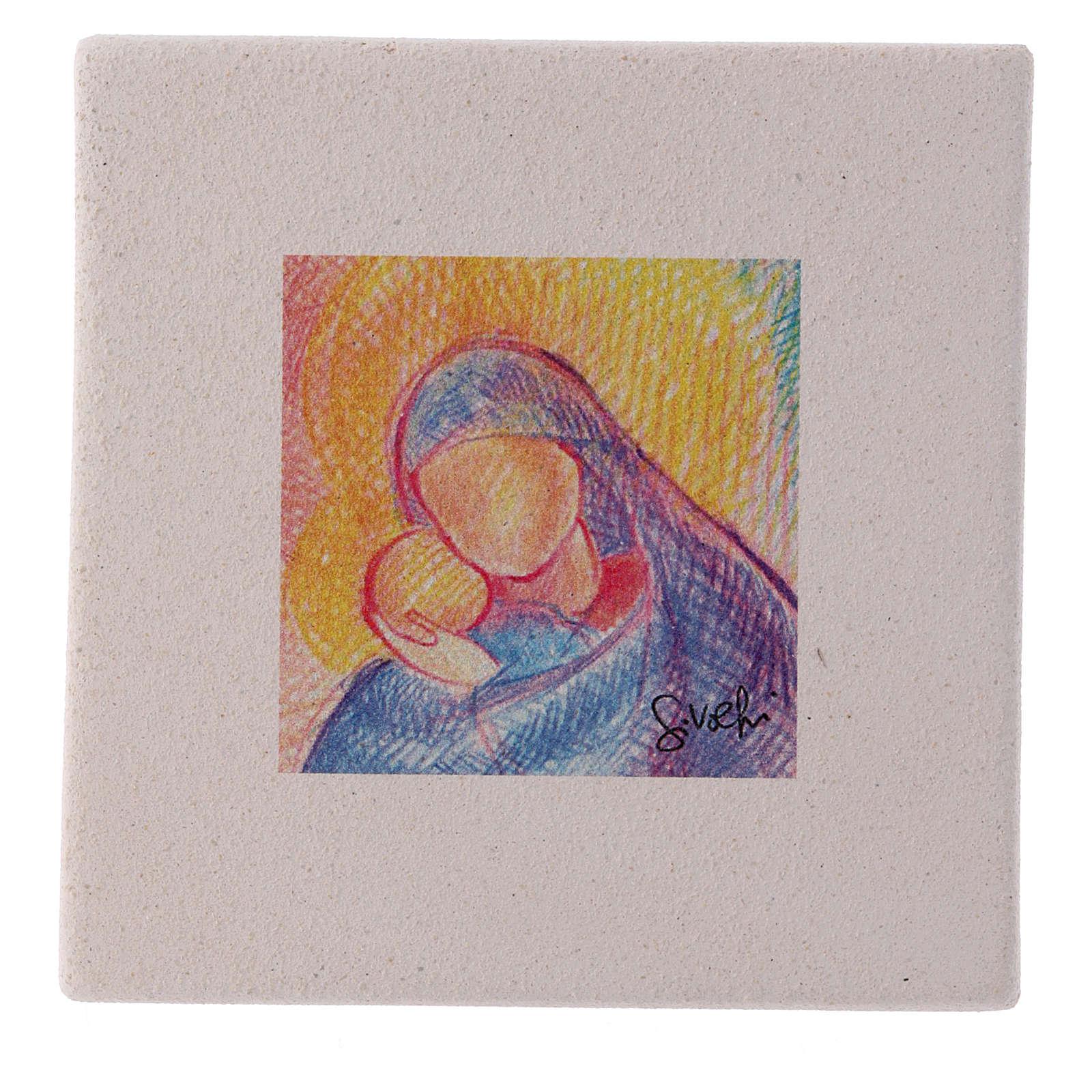 Quadretto di Natale in creta  abbraccio Maria e Gesù 10X10 cm 3