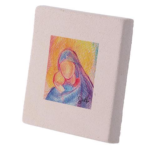 Quadretto di Natale in creta  abbraccio Maria e Gesù 10X10 cm 2