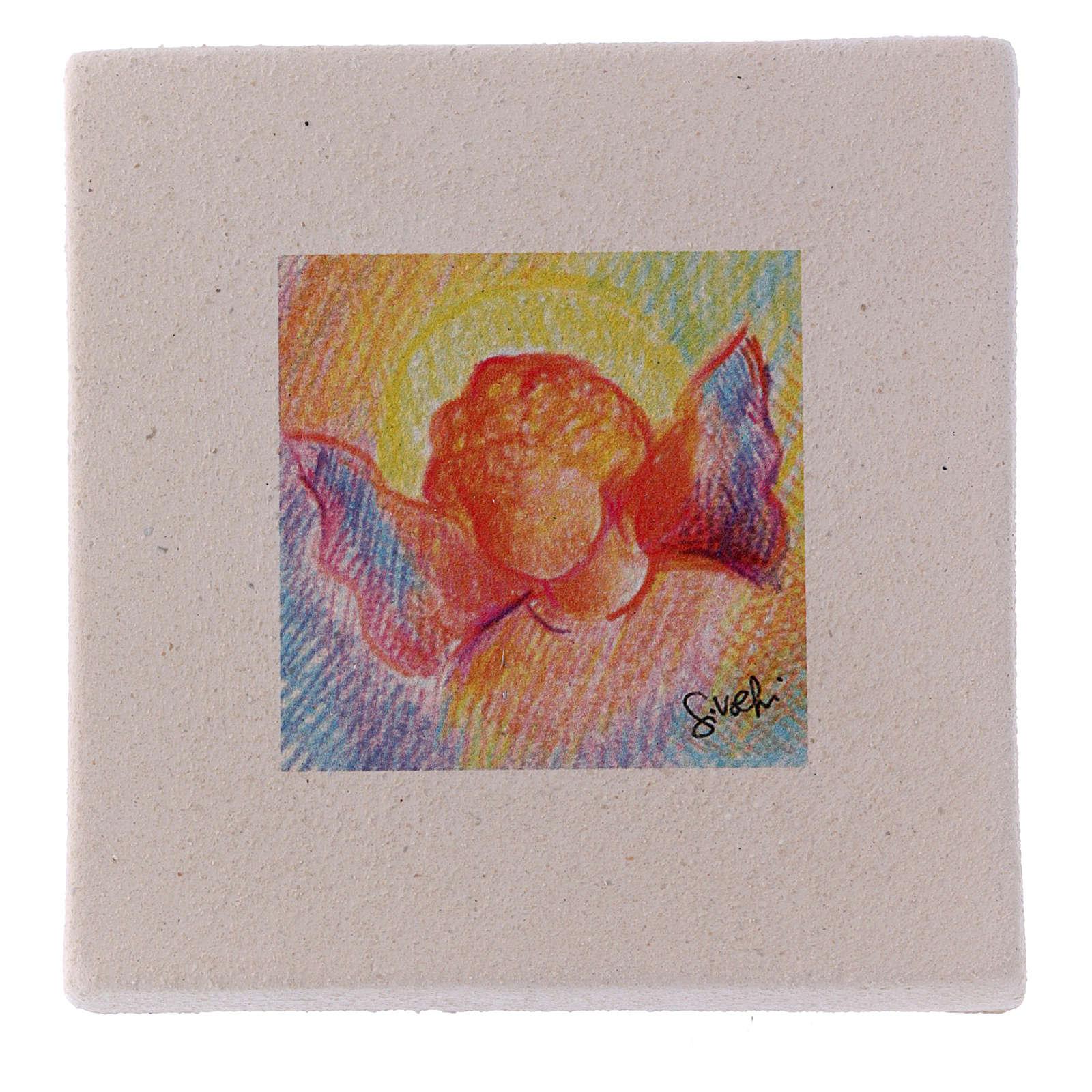 Miniatura di Natale Angelo colorato creta 10X10 cm 3