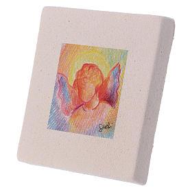 Miniatura di Natale Angelo colorato creta 10X10 cm s2