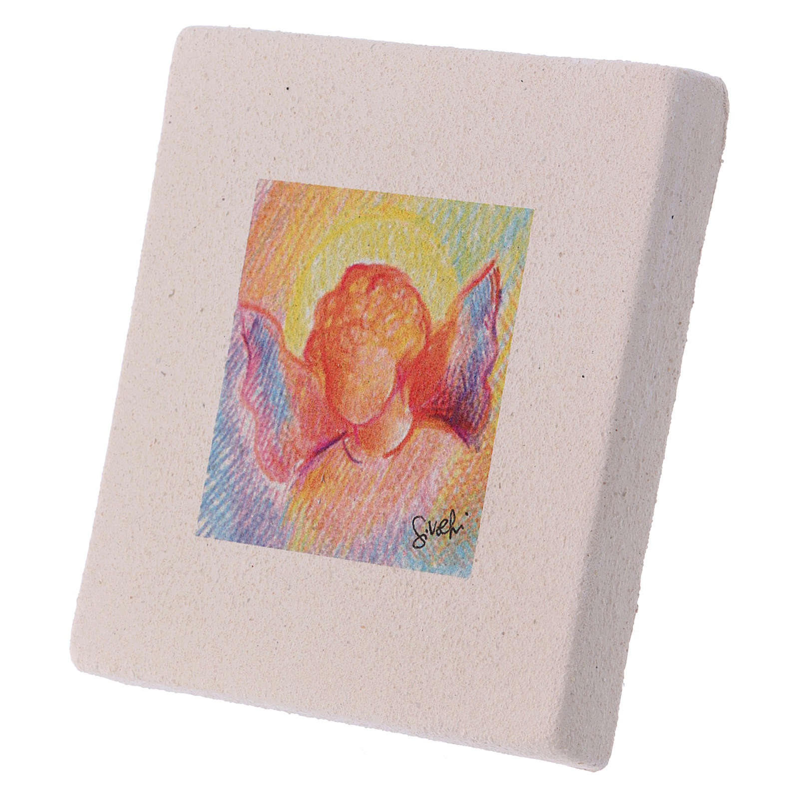 Christmas miniature coloured angel in clay 10X10 cm 3