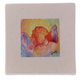 Christmas miniature coloured angel in clay 10X10 cm s1