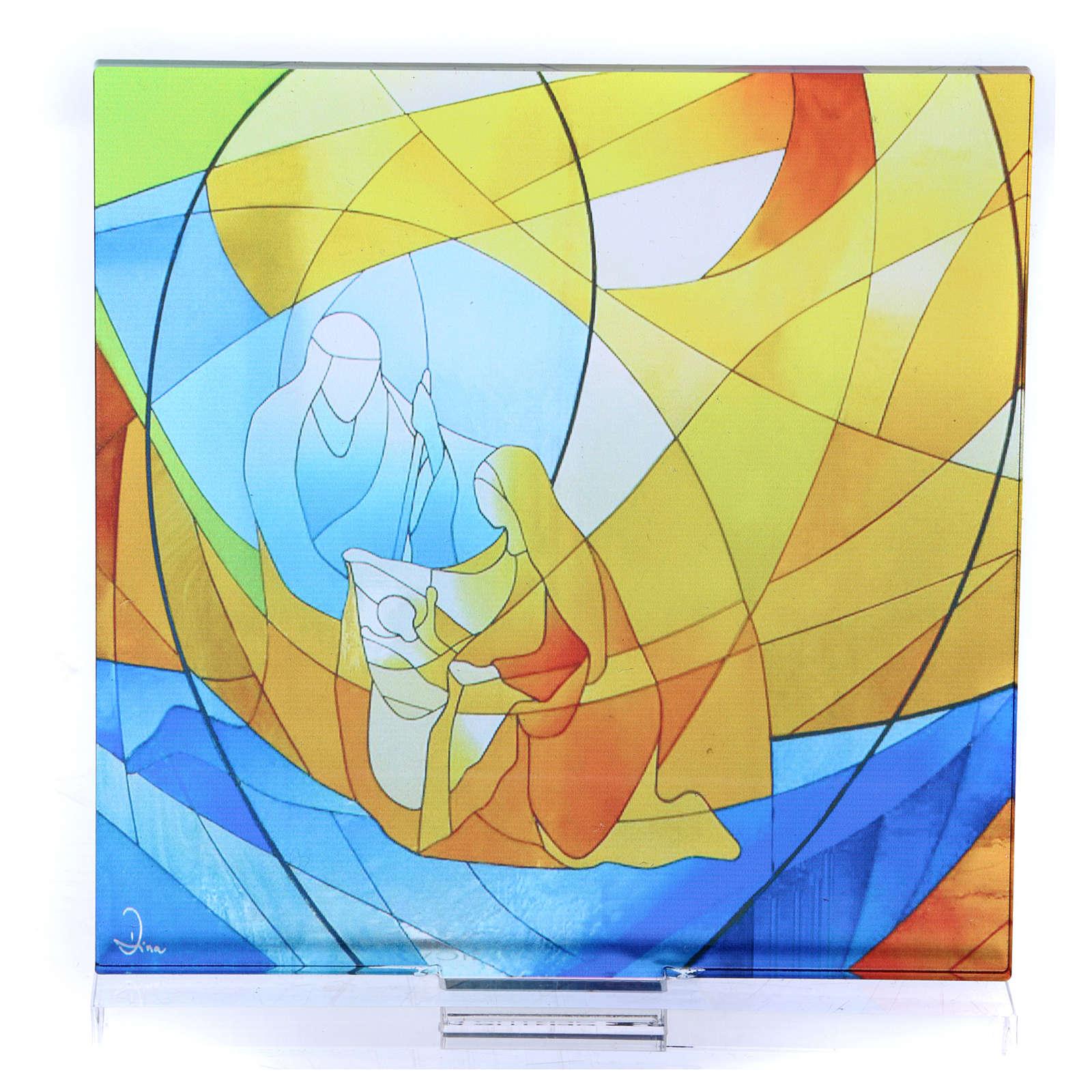 Pequeña vidriera Navideña Sagrada Familia 12,5x12 cm  3