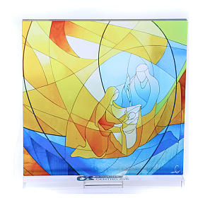 Pequeña vidriera Navideña Sagrada Familia 12,5x12 cm  s3