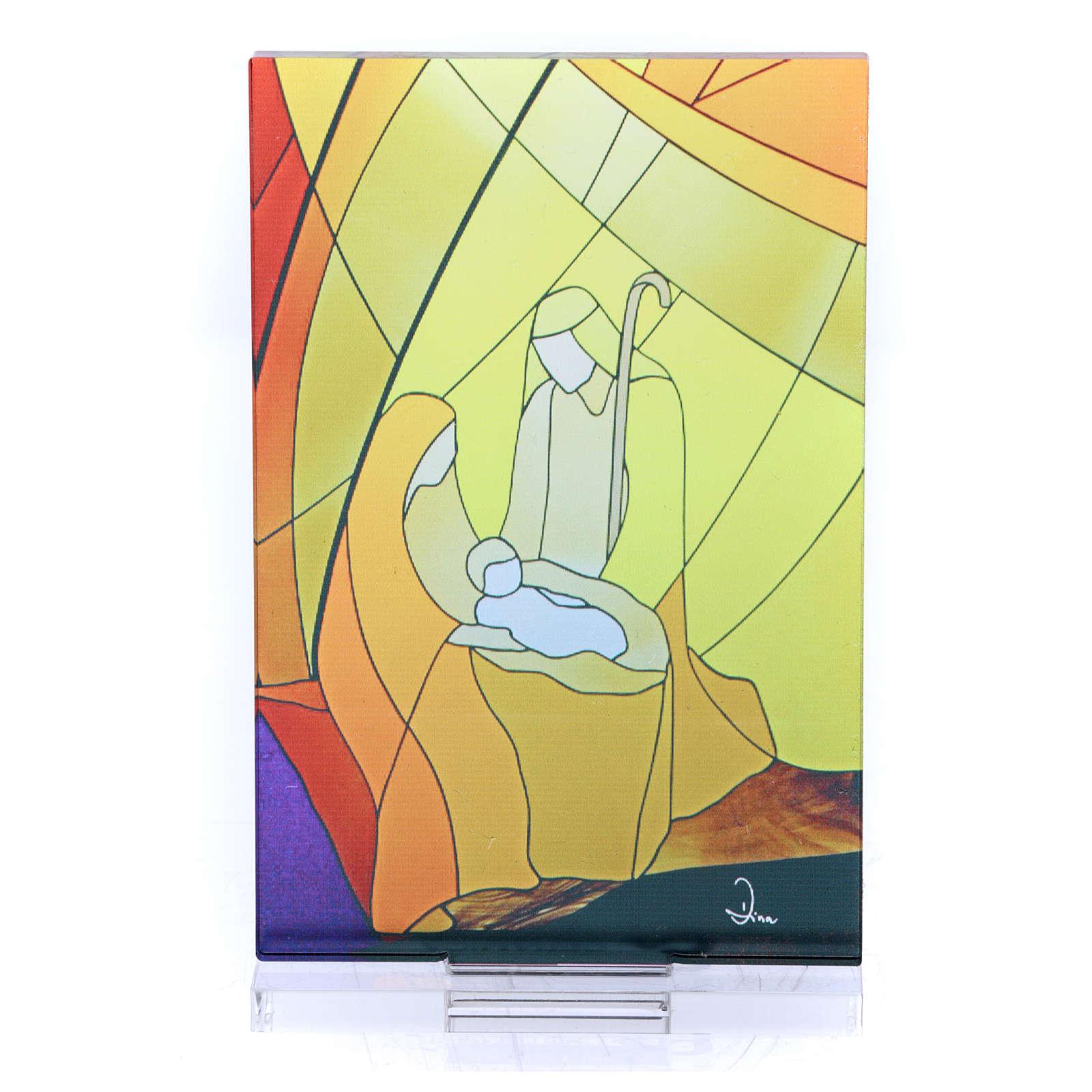 Pequeña vidriera de Navidad coloreada Natividad clásica 12,5x8 cm 3