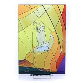 Pequeña vidriera de Navidad coloreada Natividad clásica 12,5x8 cm s3