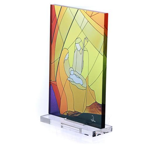 Pequeña vidriera de Navidad coloreada Natividad clásica 12,5x8 cm 2