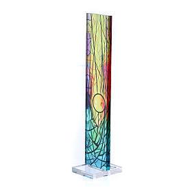 Pequeña vidriera de Navidad coloreada Sol naciente 18x3,8 cm s2