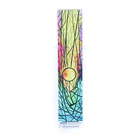 Pequeña vidriera de Navidad coloreada Sol naciente 18x3,8 cm s3