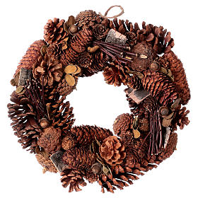 Advent wreath garland with pine cones 36 cm s1