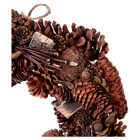 Advent wreath garland with pine cones 36 cm s2