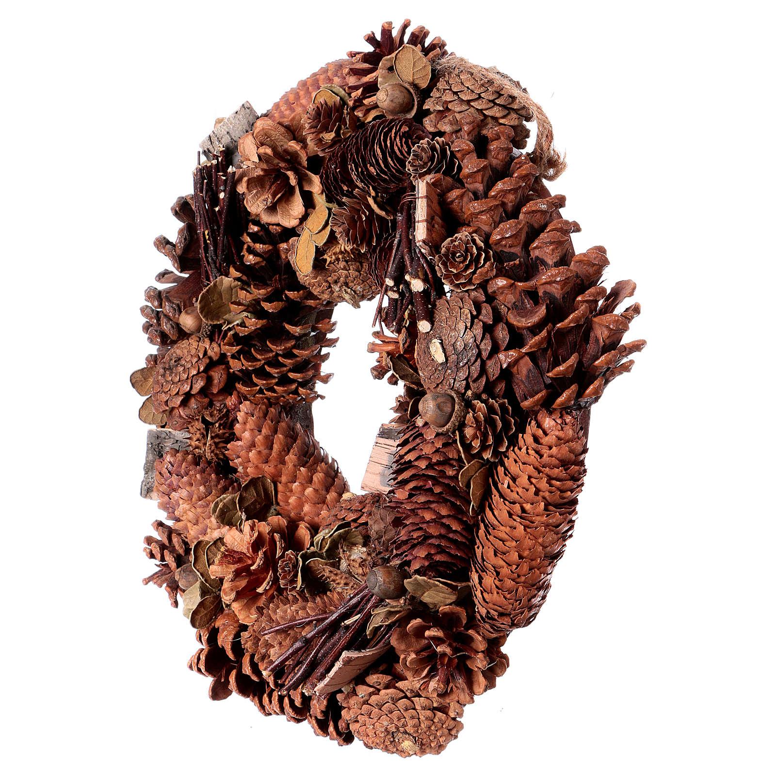 Corona Avvento Ghirlanda con pigne decorazione diam. 36 cm 3