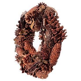 Corona Avvento Ghirlanda con pigne decorazione diam. 36 cm s3