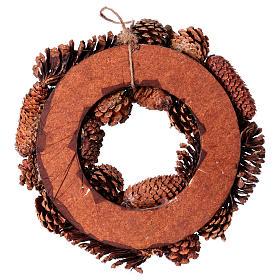Corona Avvento Ghirlanda con pigne decorazione diam. 36 cm s4