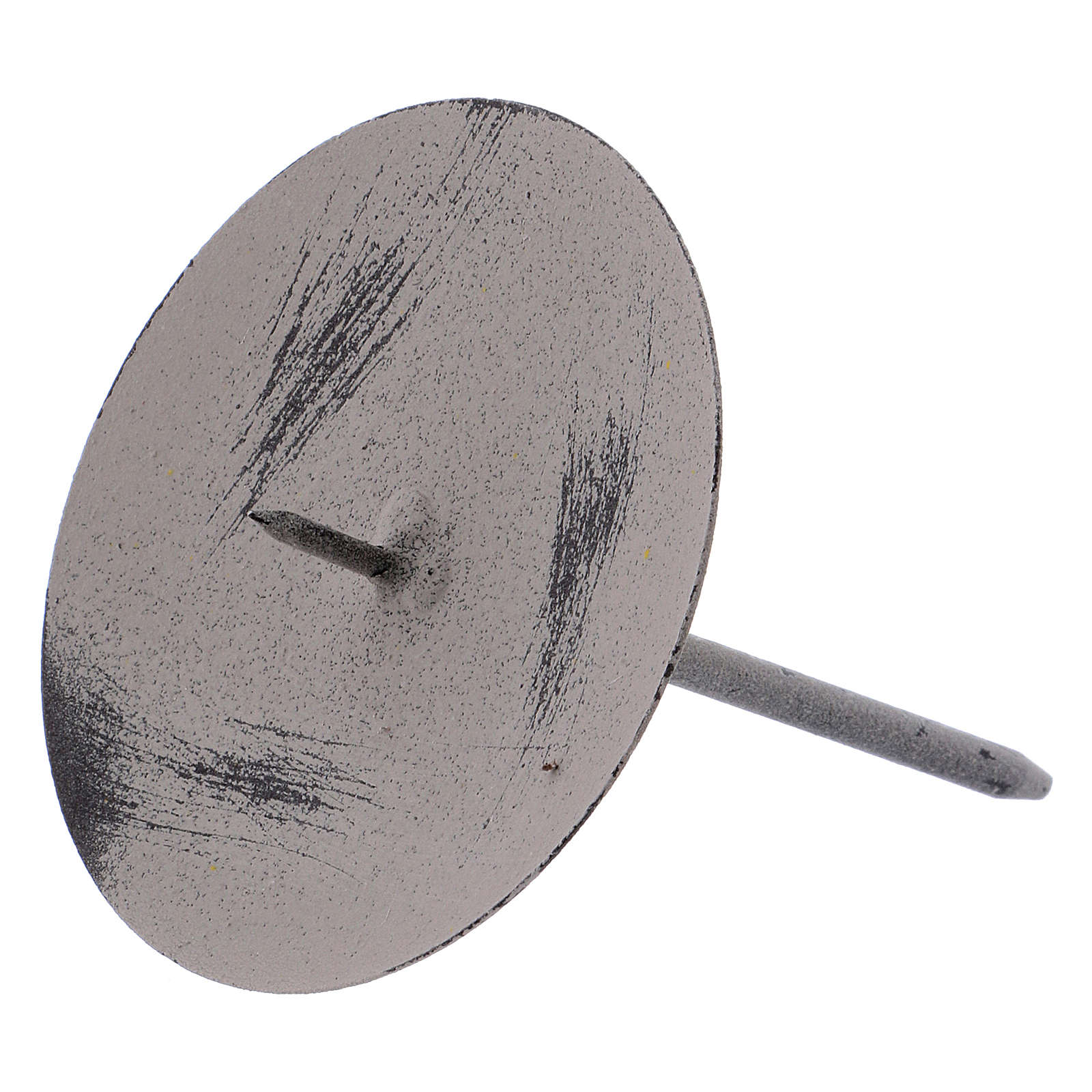 Base gris ratón para vela 10,5 cm metal 3