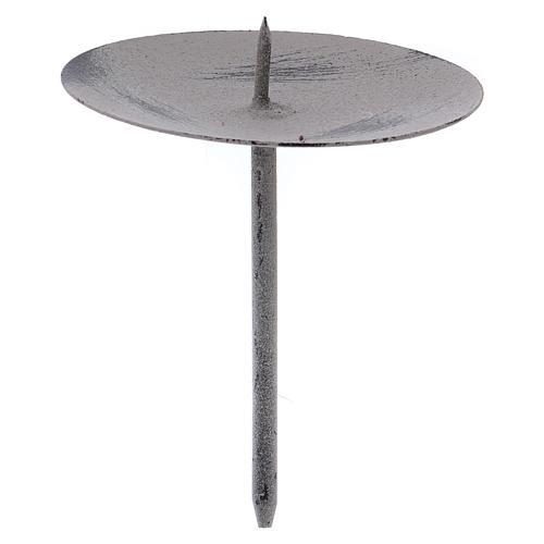 Base gris ratón para vela 10,5 cm metal 1