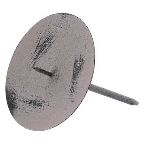 Base gris ratón para vela 10,5 cm metal 2