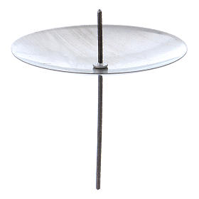 Candle base in silver coloured metal, diameter 55 mm, set of 4 pcs s1